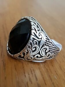 Gents Black Oval, Diamond Cut Ring,925 silver size 10,stamped925.