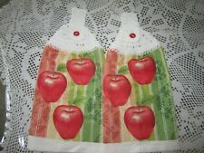 ***   2-HANGING KITCHEN TOWELS+NEW+GREAT GIFT+100% COTTON, CROCHETED TOPS APPLES