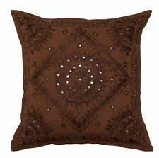 "Handmade Mirror Work 16"" Brown Pillow Cushion Cover Sofa Couch Throw Home Decor"