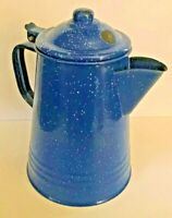 "Blue/White Enamelware Coffee Pot ~ 8 1/2"" Tall x 5 3/4""  Across Bottom"