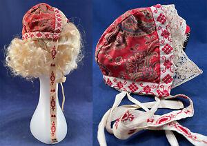 Antique Scandinavian Red Paisley Print Embroidered Lace Trim Folk Bonnet Hat Cap