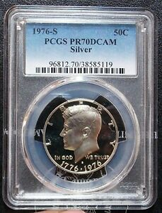 1976-S PCGS PR70 DCAM Deep Cameo Proof Silver Kennedy Half Struck Thru Error