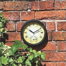 NEW TRADITIONAL GARDEN PATIO WALL CLOCK WITH THERMOMETER VICTORIAN STYLE 20CM