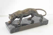 Art Deco Bronzefigur - Tiger in Bronze auf Granitsockel 20 x 8 x 8 cm ca. 1,5 Kg