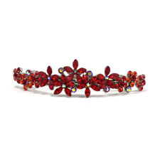 Hand Made Hair Jewelry Contrasting swarovski crystal Flower Barrette, Red