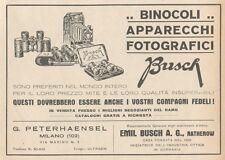 Z1860 Apparecchi Fotografici BUSCH - Pubblicità d'epoca - 1929 Old advertising