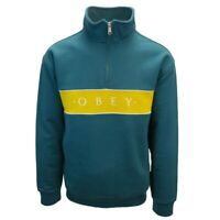OBEY Men's Evergreen Gold 1/4 Zip Mock Neck Pullover Sweater (S01)