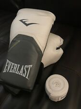 White everlast boxing gloves 12oz (evershield) With White Hand Wraps