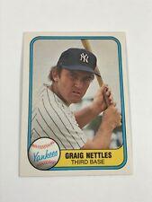1981 Fleer Baseball - Graig Nettles - Card # 87