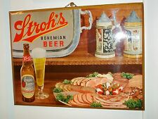 1950s STROH'S BOHEMIAN BEER SIGN Celluloid/Tin/Cardboard GLASS BOTTLE TRAY STEIN