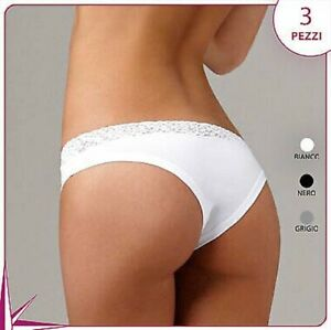 3 Brazilian Briefs Lovelygirl 8308 IN Stretch Cotton with Lace