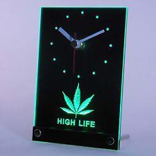 Cannabis Maijuana Marihuana Hanf Haschisch Weed LED Tisch Leucht Uhr Werbung