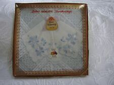 Vintage White with Blue Flower Boxed Ladies Quality Handkerchiefs Set of 2 New