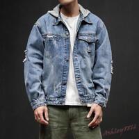 Retro Stylish Mens Denim Loose Hooded Coats Casual Hoodie Jean Jackets Outwear