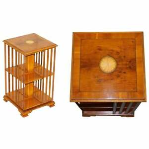 VINTAGE SMALL BURR WALNUT SHERATON INLAID REVOLVING BOOKCASES SIDE TABLE SIZED