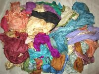 LOT PURE SILK Antique Vintage Sari REMNANT Fabrics 100 GRAMS CRAFT DOLL QUILT 24