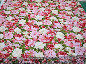 3 Yards Quilt Cotton Fabric - David Textiles Vintage Rose Bouquet Roses Packed