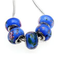 5pcs Wholesale Flowers Lampwork Murano Glass Beads Fit European Charm Bracelet
