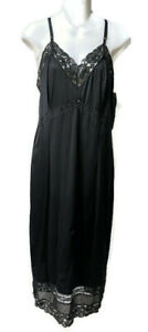 Vintage GAYMODE Full Slip Floral Lace Nylon Black - Plus Size 40 Tall!