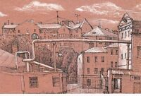 RARE Moscow sketches knot City view houses by Kislyuk Russian modern postcard