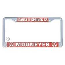 MOONEYES LICENSE PLATE FRAME IN RED.  METAL FRAME HOT RODS CUSTOM RAT RODS