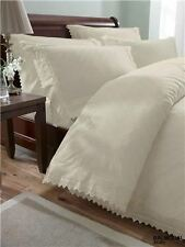 Balmoral Cream Broderie Anglaise Embroidered Double Duvet Cover Bed Set