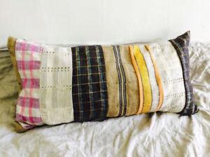 Vintage Asoke Cloth Pillow Cushion. African Textile Cotton/Metallic