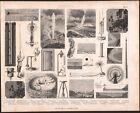 1870 Gravure originale physique phénomènes optiques naturels geyser typhon