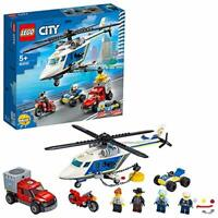 LEGO City 60243 Police Helicopter Chase Toy with ATV Quad Bike, Motorbike and