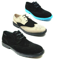 Men's Dylan Suede Wing Tip Lace Up Casual Two Tone Chukka Oxfords Dress Shoes