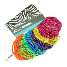 100pc BUNDLE OF TRADITIONAL THIN 4cm HAIR ELASTICS BANDS MIXED BRIGHT COLOURS