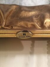 Michael Kors Leather Gold Bronze Brown Handbag Hand Bag Purse Tote Chain Canvas
