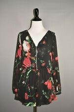 EXPRESS NEW $65 Black Floral Sheer Sleeve Zip Front Romper Small