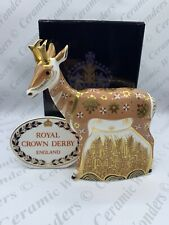 Royal Crown Derby Pronghorn Antelope Paperweight - Ltd Edition - Gold Stopper