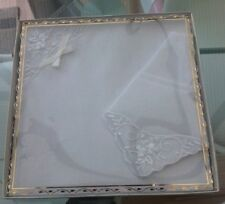 BOXED SET OF 2 VINTAGE WHITE COTTON AND EMBROIDERED FLORAL LADIES HANDKERCHIEFS