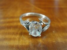 Silver 925 Ring Size 6 1/2 Oval Cubic Zirconia Stone with Leaves Sterling