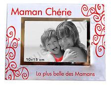 """Cadre photo """"Maman Chérie"""" à poser horizontal en verre idée cadeau Mère neuf"""