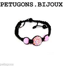 "Bracelet  "" Shamballa""cordon noir et perles facette rose , taille ajustable"
