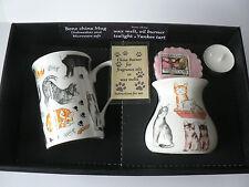 Cats Mug & oil burner gift set -Gift box mug, oil burner Yankee melt t.lite