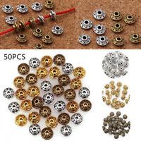 50pcs/Lots Tibetan Oval UFO Spacer Metal Beads 6mm Jewelry Making Wholesale