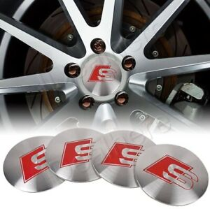 4 x Audi  S-Line Alloy Wheel Hub Centre Caps 56mm Brushed Alloy Self Adhesive 🇬