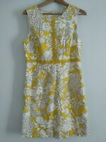Boden yellow and white sleeveless lined dress size 14 R Pockets Mod 60's style