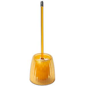 Toilet Bowl Brush - Orange Ribbed Acrylic Bath Accessory