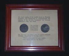 Two Wwi Rms Lusitania Sinking Propaganda Medallions in Original Display Frame