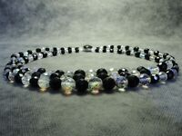 Vintage Bohemian 3-Row  Faceted Black & Aurora Borealis Glass Bead Necklace