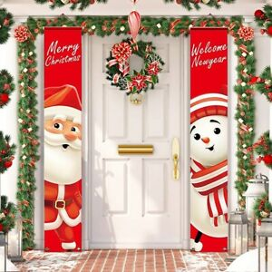 Merry Christmas Snowman Santa Claus Banner Flag Wall Hanging Xmas Party Decor US
