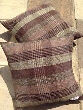 """Harris Tweed Wool 18"""" Grey Brown Black John Lewis Mocha velvet Cushion covers"""