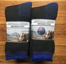 3 PAIRS 11-14 HEAVY DUTY AUSTRALIAN MERINO EXTRA THICK WOOL SOCKS BLACK/BLUE