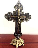 "Large 8"" Jesus and 12 Disciples vintage Bronze Standing cross/Crucifix Catholic"