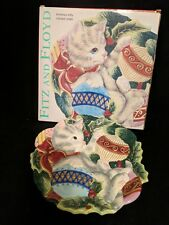Fitz & Floyd Christmas Cat Decorative Canape / Cookie Plate Kristmas Kitty 2003